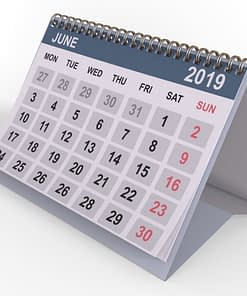Standard desktop calendar