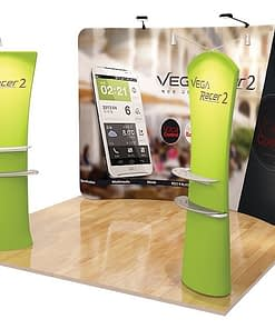 Printed curved tension media back drop display